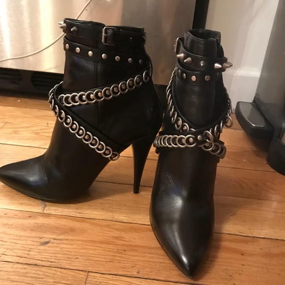 bece490ceed Saint Laurent Chain-Wrapped Tumbled Leather Boot